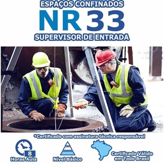 Curso NR 33 - Segurança e Saúde nos Trabalhos em Espaços Confinados Básico - Supervisor de Entrada
